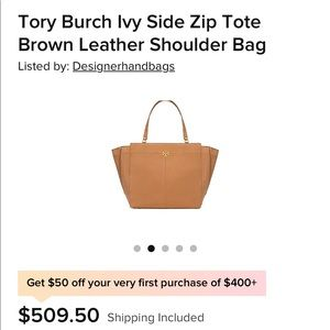 Tory Burch ivy side zip tote like brand new!